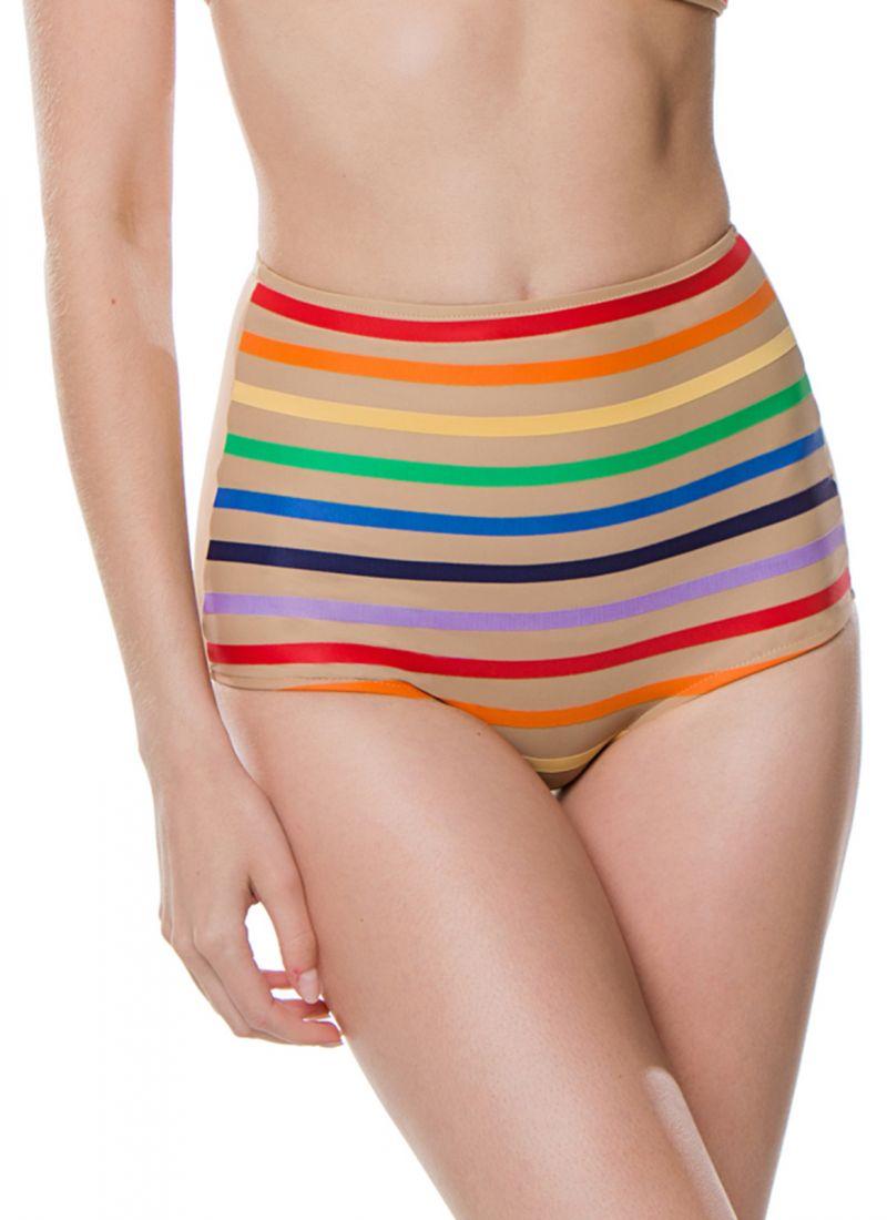 High-waisted bikini bottom in colorful stripes - BOTTOM MILAGRES RAINBOW STRIPES NUDE