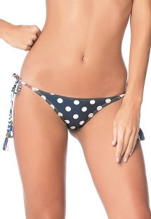 Brazilian navy scrunch bikini bottom with white dots - BOTTOM FRINGES NAVY GUACAS LATIN