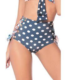 Navy high-waisted bottom with white polka-dots print - BOTTOM HOT NAVY GUACAS LATIN