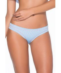 Blue striped tanga with contrasting overstitching - BOTTOM MARINA RUFFLES