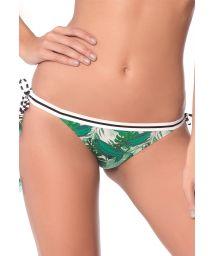 Side -tied Brazilian bikini bottom in green tropical print and stripes - BOTTOM POLKA JUNGLE LATIN