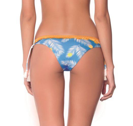 Blau/gelbgetupfte Bikinihose mit Fransenborte - BOTTOM TROPICAL DOTS AMERICAN