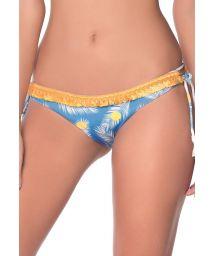 Blue Brazilian bikini bottom with yellow dots and fringed braid - BOTTOM TROPICAL DOTS AMERICAN