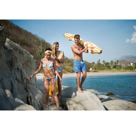 Blau/gelbgetupfte Scrunch-Bikinihose - BOTTOM TROPICAL DOTS LATIN