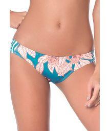 Blue leaves print fixed scrunch bikini - BOTTOM TURQUOISE GARDEN LATIN