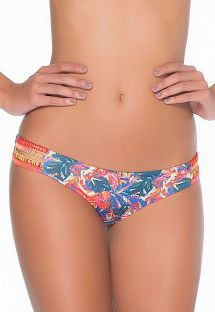 Colourful and floral Brazilian bikini botoms with strap details - CALCINHA ASAI CROCHET