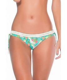 Colourful cockatoo motif Brazilian bottom with tassels - CALCINHA CACATUAS POMPOM