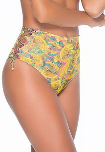 High-waisted yellow patterned bikini bottom with laced-up sides - CALCINHA LIMA