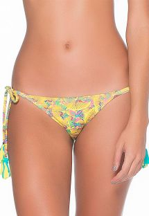 Brasilianske bikinitrusser med gult mønster og frynsede pomponer - CALCINHA LIMA FRUFRU
