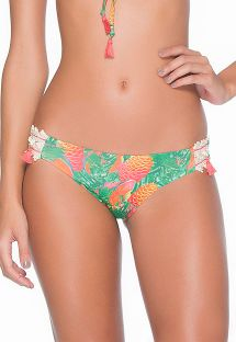 Green/orange tropical bi-fabric Brazilian bikini bottom - CALCINHA MARACA