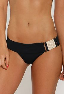 Sort brasiliansk bikinitrusse med originalt bæltestykke - CALCINHA ELEGANCY BLACK