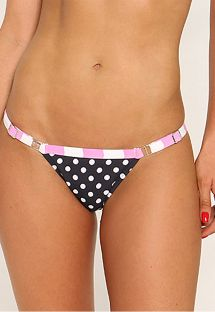 Justerbar tanga bikinitrusse med prikker og stribet bæltestykke - CALCINHA FUNNY LISTRADO