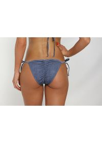 Denim print scrunch tanga bikini bottom - CALCINHA JEAN LACE