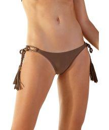 Hazelnut Brazilian scrunch bikini bottom rope ties - BOTTOM PRATA ANGEL CASTANHO