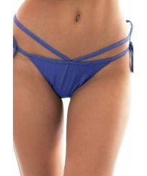 Glänsande, mörkblå bikininederdel med banddekorationer - CALCINHA RADIANTE AZUL MARINHO MULTI