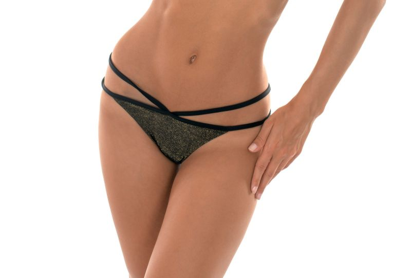Tanga style black lurex strappy bottom - CALCINHA RADIANTE CROPPED STRAPPY