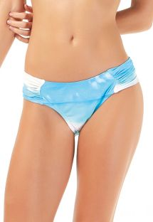 White and blue tie dye fixed bikini bottom - BOTTOM LAGON BLEU