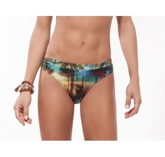 Fixed Brazilian bikini bottom with tropical print - BOTTOM MARRAKESH TROPICAL