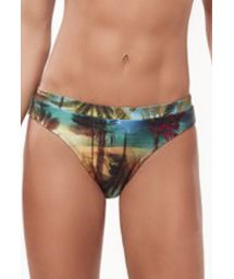Fixed Brazilian bikini bottom with tropical print - BOTTOM MARRAKESH TROPICAL