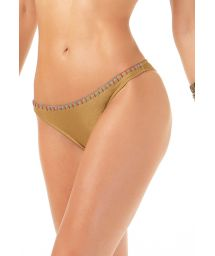 Gold fixed Brazilian cut bottom with embroidered edge - CALCINHA HALTER BORDADO