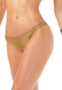 Fastsiddende gyldenbrune brasilianske bikinitrusser med broderede kanter - CALCINHA HALTER BORDADO
