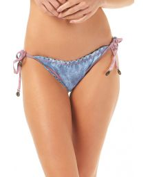 Washed denim scrunch bottom with pink overstitching - CALCINHA JEANS RIPPLE