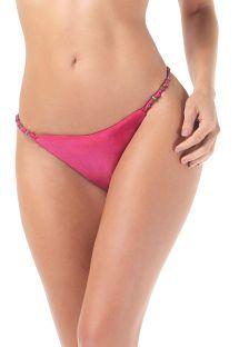 Lyserøde brasilianske bikinitrusser med tynde sidestykker og perler - CALCINHA LONGO NOS