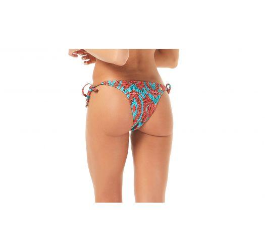 Two-tone blue/redprinted Brazilian bottoms - CALCINHA ODARA