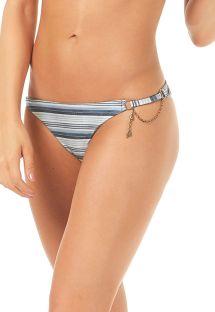 Blåstribede brasilianske bikinitrusser med lille kæde - CALCINHA RECORTES