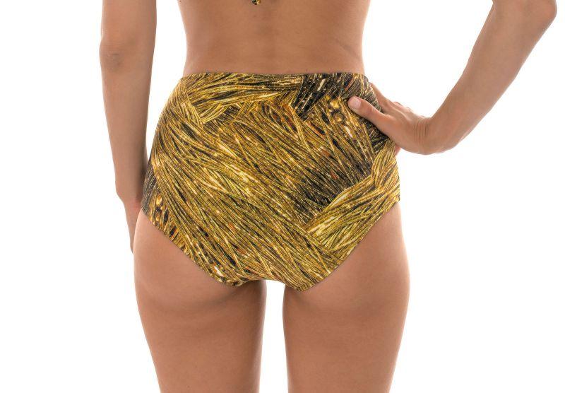 Gold-printed high-waisted bikini bottoms - CALCINHA RELUZENTE TOMARA QUE CAIA