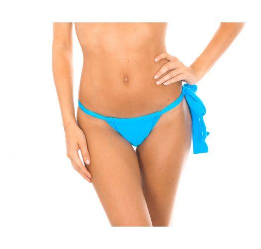 Sliding blue swimsuit bottom with decorative tie - BLUE LACE