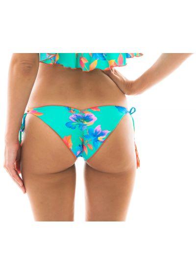 Side-tie floral turquoise bikini bottom - BOTTOM ACQUA FLORA BABADO