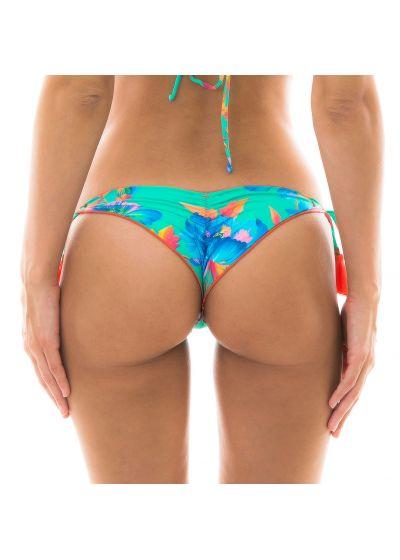 Floral turquoise scrunch bikini bottom - BOTTOM ACQUA FLORA FRUFRU