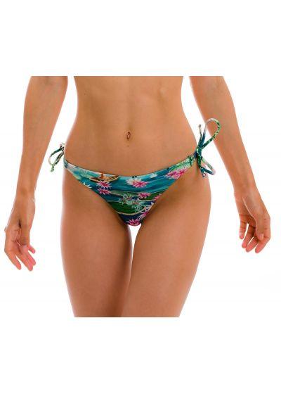 Green & blue tropical double-tie thong bikini bottom - BOTTOM AMAZONIA FIO-TIE