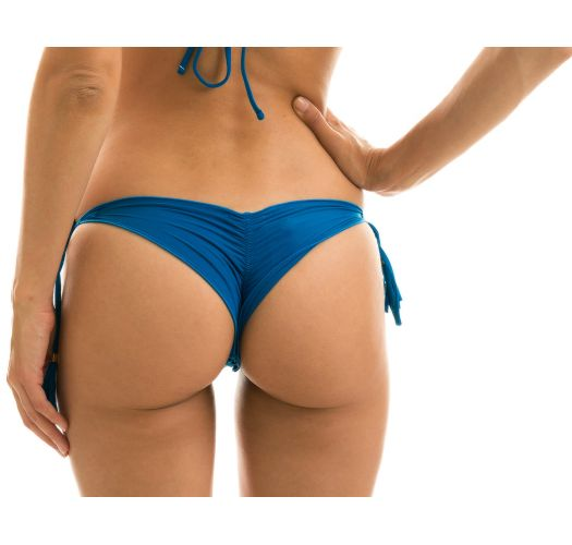 Blue scrunch bikini bottom with tassels - BOTTOM AMBRA TURQUIA FRUFRU