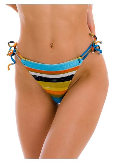 Double-tie thong bikini bottom in colorful stripes - BOTTOM ARTSY FIO-TIE