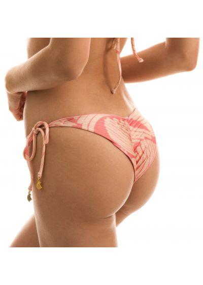 Side-tie scrunch bikini bottom with pink  banana print - BOTTOM BANANA ROSE FRUFRU
