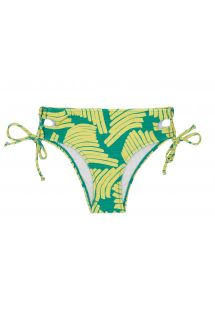 Larger side Brazilian bikini bottom in green banana print - BOTTOM BANANA YELLOW BALCONET
