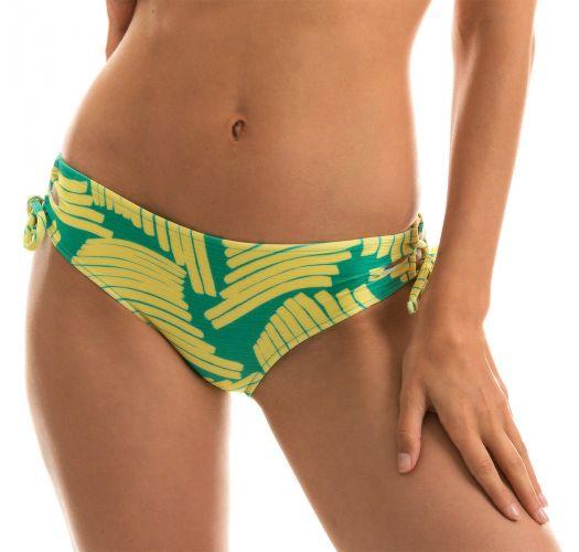 Larger side Brazilian bikini bottom in green banana print - BOTTOM BANANA YELLOW BALCONET