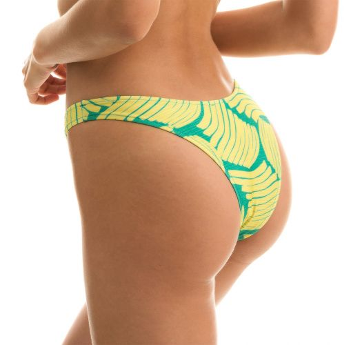 Green banana print fixed bikini bottom - BOTTOM BANANA YELLOW BANDEAU
