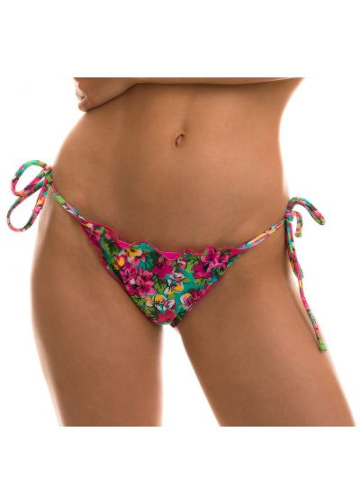 Scrunch side-tie bikini bottom in colorful floral print - BOTTOM BEACH FLOWER FRUFRU