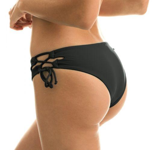 Black laced larger-side bikini bottom - BOTTOM BLACK RETO