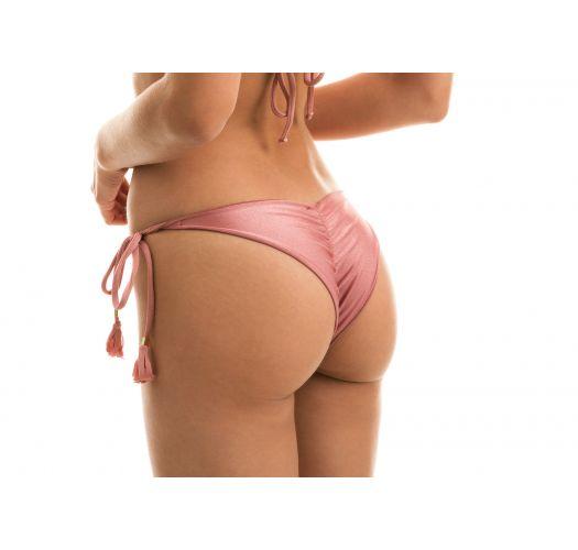 Iridescent pink side-tie scrunch bikini bottom - BOTTOM CALLAS FRUFRU