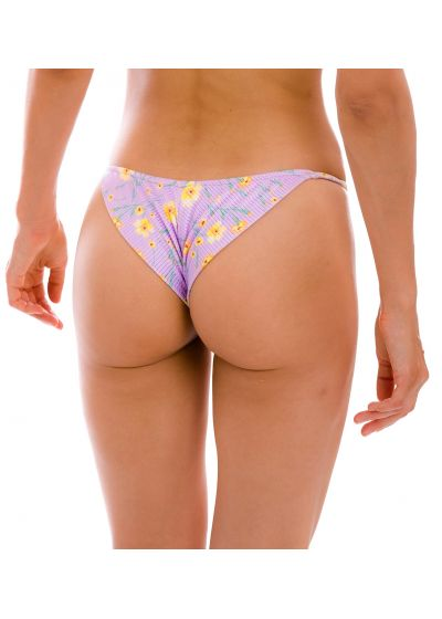 Textured pastel floral cheeky bikini bottom with thin sides - BOTTOM CANOLA CHEEKY-FIXO