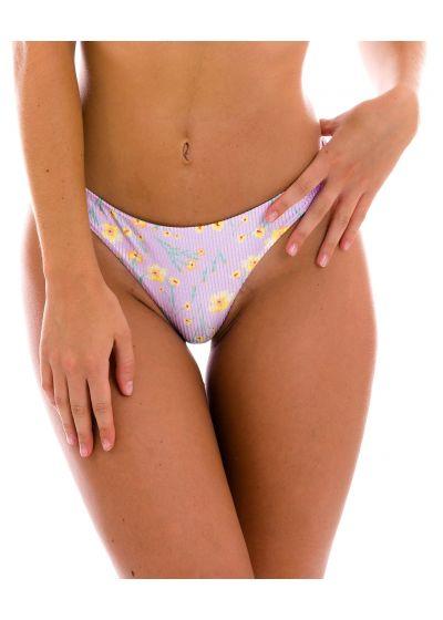 Purple thong bikini bottom with flowers - BOTTOM CANOLA FIO