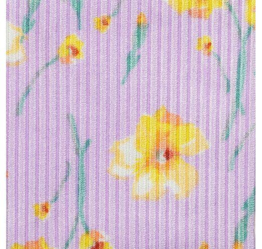 Bas string fixe parme à fleurs - BOTTOM CANOLA FIO