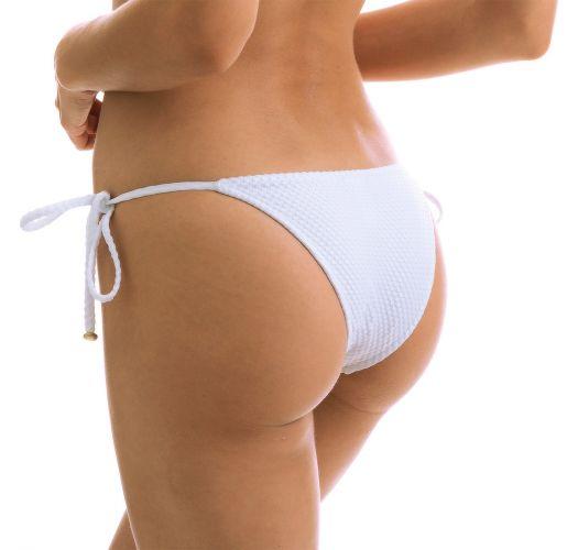 Białe teksturowane wiązane po bokach figi do bikini - BOTTOM CLOQUE BRANCO BALCONET