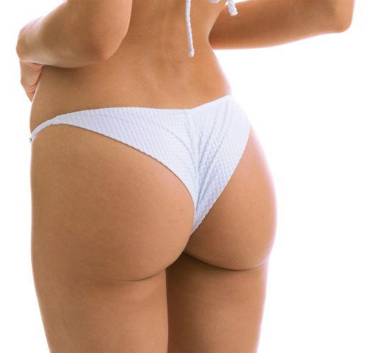 Adjustable white textured cheeky bikini bottom - BOTTOM CLOQUE BRANCO CHEEKY