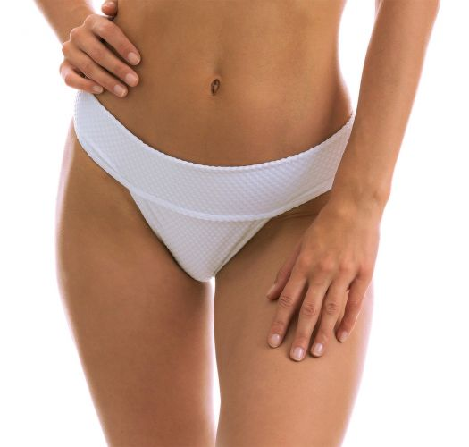 White textured bikini bottoms with a wide waist band - BOTTOM CLOQUE BRANCO TRI COS