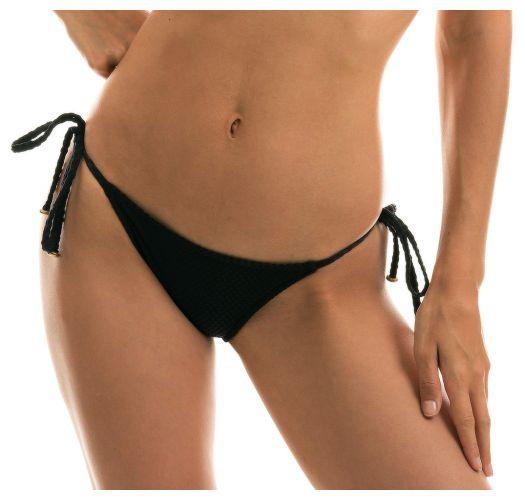 Black side-tie textured Brazilian bikini bottom - BOTTOM CLOQUE PRETO BALCONET